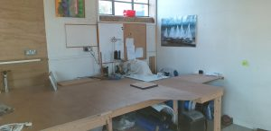 Sewing bench moved, just need wall and roof building.